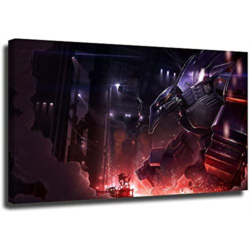 Póster de la Liga Legends de 30,5 x 45,7 cm, diseño de Malphite mecha sobre lienzo, decorativo para pared, enmarcado/listo para colgar