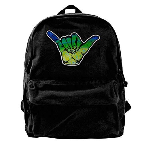 huatongxin Mahi Fish Scale Hang Loose Shaka Student Mochila,Lightweight Travel Sport School Bag Pack Mochilas Black