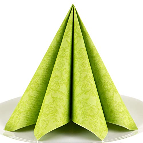 Servietten Ornament grün Premium Airlaid, STOFFÄHNLICH | 50 Stück | 40 x 40cm | Hochzeitsserviette | hochwertige edle Serviette für Hochzeit, Geburtstag, Party, Taufe, Kommunion | made in Germany