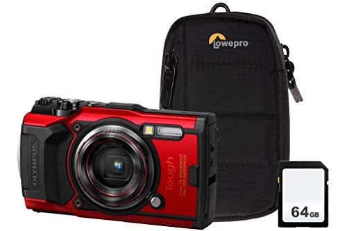 Olympus TG-6 - Kit de cámara Resistente (Tarjeta SD de 64 GB y Funda), Color Rojo