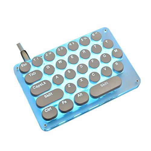 LYY Ultradünne mechanische Tastatur Mechanische Tastatur einhändig, eine kleine tragbare Tastatur für Legends-Spiele (Support 24 Makros) Geeignet für Home Office und Game Room