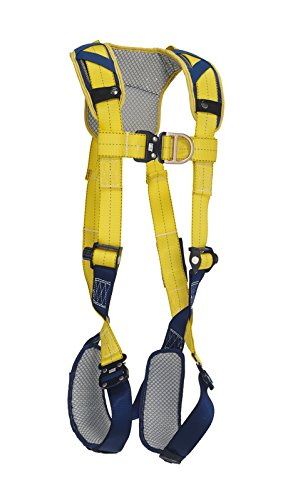 3M DeltaComfort 1100638 Fall Arrest Kit with Back/Front D-Rings, Quick Connect Buckle Leg/Chest Straps and Comfort Padding, Large, Navy/Yellow