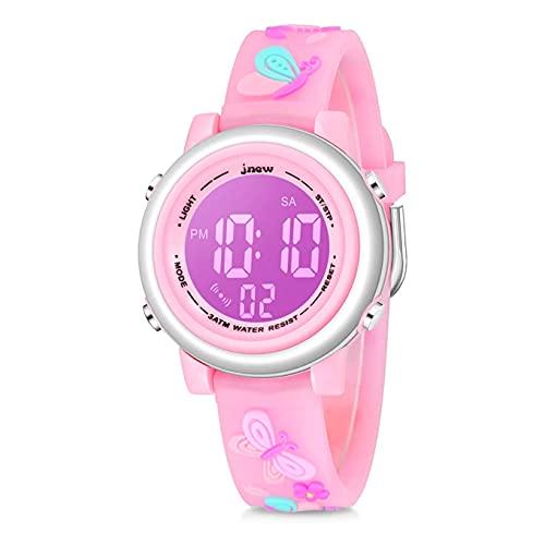 Relojes digitales para niños pequeños, 3D lindo dibujos animados 7 luces de color impermeable deporte electrónico reloj de pulsera con alarma cronómetro para niños de 3 a 10 años, Mariposa, rosa,