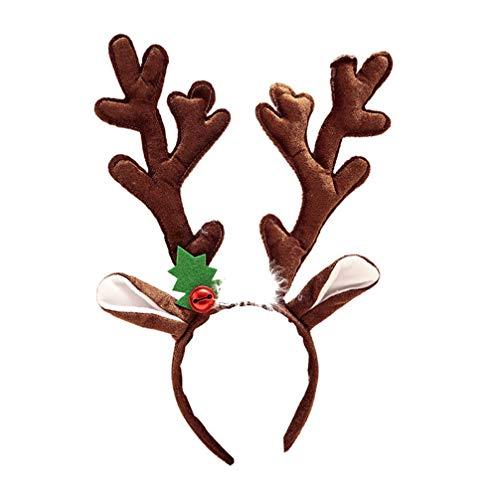 Amosfun diadema de cuernos de reno navideño diadema con orejas de reno para niños y adultos favores de fiesta de navidad accesorios de fotografía (marrón)