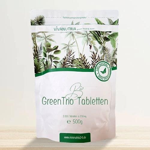 VivaNutria Bio Green Trio Presslinge 500g | aus kontrolliert biologischem Anbau I 2000 Tabletten aus Spirulina Chlorella & Gerstengras ohne Zusätze I schonend verarbeitet und Rohkostqualität I vegan