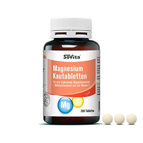 Magnesium Kautabletten | Für eine ergänzende Magnesiumzufuhr · Wohlschmeckend und mit Vitamin C | Nahrungsergänzungsmittel | 200 Tabletten