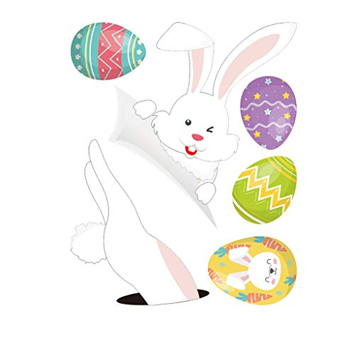 Decoración de Pascua para nevera, diseño de conejo, huevo y huevo, adhesivo decorativo para pared, decoración de interiores