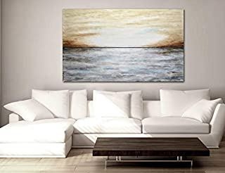 Large 36 x 60 abstract landscape painting original gray brown modern abstract art oil painting by L.Beiboer