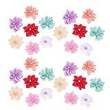 Healifty 40 Piezas de Flores de Tela Cabezas de Flores Artificiales Cinta de Raso Flores de Rosa Flores de Costura Pequeñas Flores para Proyectos de Manualidades