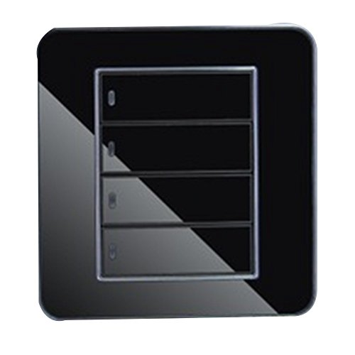 Interruptor regulador inteligente interruptor táctil pared etanche LED interruptor enchufe de corriente en vidrio cristal negro (3interruptores Control único) X 1