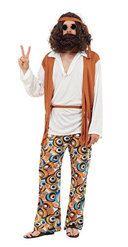 Bristol Novelty AC591X Hippie Kostüm für Männer, Mehrfarbig  - XL