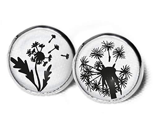 Orecchini a forma di soffione – orecchini a forma di fiore – graziosi orecchini – orecchini neri e bianchi – orecchini floreali – 12 mm – orecchini a forma di fiore – dente di leone – SC283
