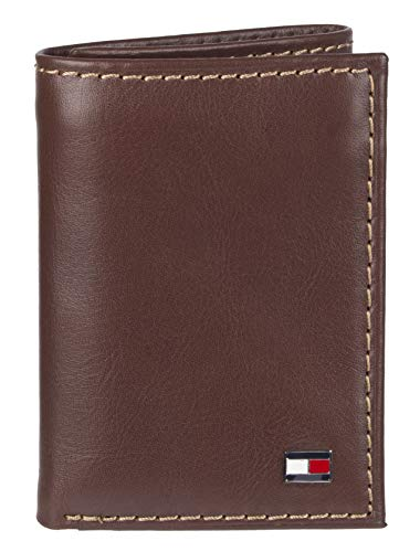 Tommy Hilfiger Men's Leather Trifold Wallet,Logan Tan