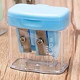 Pencil Sharpener Los Agujeros Sacapuntas Doble de plástico sacapuntas del Color del Caramelo Transparente estándar lápiz Corte de la máquina (Azul) (Color : Blanco)