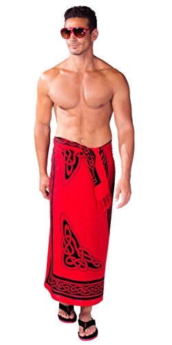 1 World Sarongs Mens Celtic Sarong in Maiden and The Dragon Rose Red