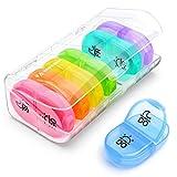 AUVON Tablettenbox 7 Tage Morgens Abends, Pillendose 7 Tage 2 Fächer, handlicher und feuchtigkeitsbeständiger Medikamentenbox für die Hand- oder Hosentasche, um Vitamin- und Medikamente aufzubewahren -