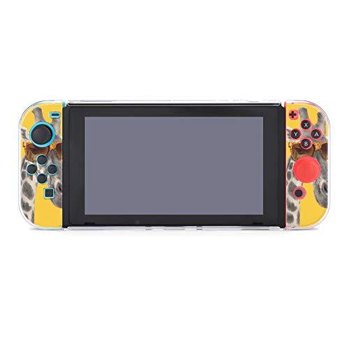 Hülle für Nintendo Switch Portrait einer Giraffe mit moderner Sonnenbrille Fünfteiliges Set Schutzhülle Case Kompatibel mit Nintendo Switch Spielekonsole