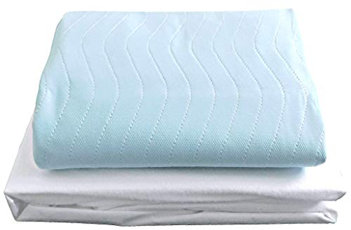 COMFORTNIGHTS Washable Incontinence Bed Set 2x Blue Bed pads with tucks,1x mattress protector.