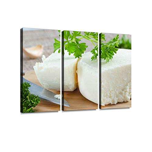Cotija Cheese. Print On Canvas Wall Artwork Modern Photography Home Decor Unique Pattern Stretched and Framed 3 Piece