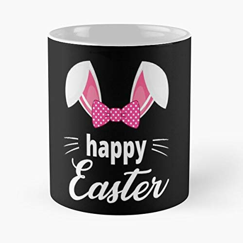 Taza de café de cerámica con diseño de conejo de Pascua con texto en inglés 'Rabbit Happy Day Ears Eat Food Bite John Best de 315 ml