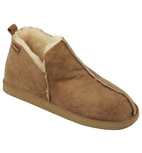 Shepherd - Herren Stiefel Stil Schaffell Schlappen Hausschuhe In Antik Leder Ausführung - Kastanienbraun, Schafffell, UK 8 (EURO 42)