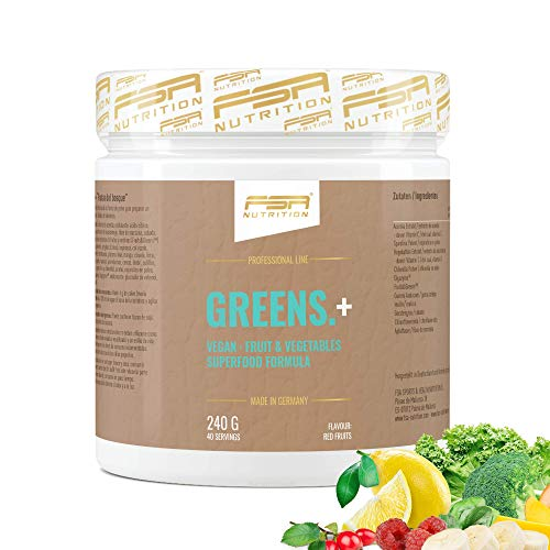 Greens Pulver Superfood mit Gerstengras, Spirulina & Chlorella, natürlichem Vitamin C - Made in Germany - FSA Nutrition - 240 g