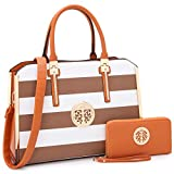 Women Handbags Top Handle Satchel for Ladies Vegan Leather Purse Wallet 3Pcs Set Shoulder Bag (7555- Coffee/White)