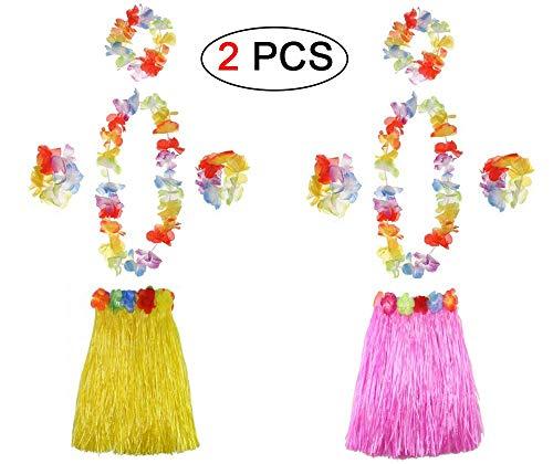 Ungfu Mall 2Sets Hawaiian Hula Gras Rock Blume Armbänder Stirnband Halskette Girlande Hawaiian Leis Fancy Dress Damen für Tropical Beach Party Hen Night mit 60cm