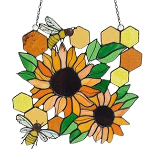 lyqdxd Yellow Bee Sunflower Ornament Suncatcher Pendant Wall Decoration Hanging Craft Wind Spinner Bedroom Wall Art Handcrafted Decor Dorm Room Home Decoration wooden beads garland