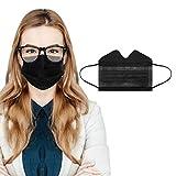 RUDOSE 50 Stück Einmal-Mundschutz, Staubs-chutz Atmungsaktive Anti Nebel Mundbedeckung, Erwachsene, Sommerscha Bandana Face-Mouth Cover für Menschen mit Brille (Schwarz, 50 Stück)