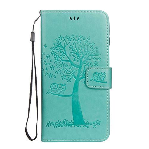 DENDICO - Funda para iPhone 7 Plus/iPhone 8 Plus, piel tipo cartera con tarjetero para Apple iPhone 7 Plus/8 Plus, diseño de árbol y búho en relieve, color verde