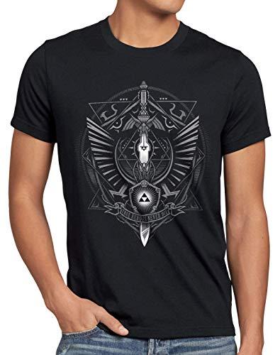 style3 Hyrule Wappen Herren T-Shirt link Gamer, Größe:5XL, Farbe:Schwarz