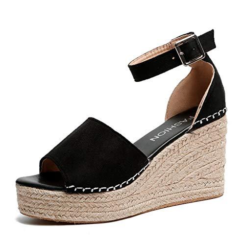 UMore Sandalias con Punta Abierta Mujer Sandalias Mujer Verano Plataforma Alpargatas Esparto Cuña Zapato Hebilla Punta Abierta Comodas