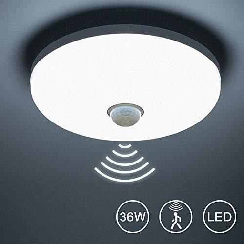 Yafido Plafonnier LED Avec Détecteur De Mouvement 36W 3240Lm 6500K Blanc Froid - Moderne Capteur De Radar LED Pour Salle De Garage Couloir Armoire Sous-sol Bureau D'escalier Ø23cm