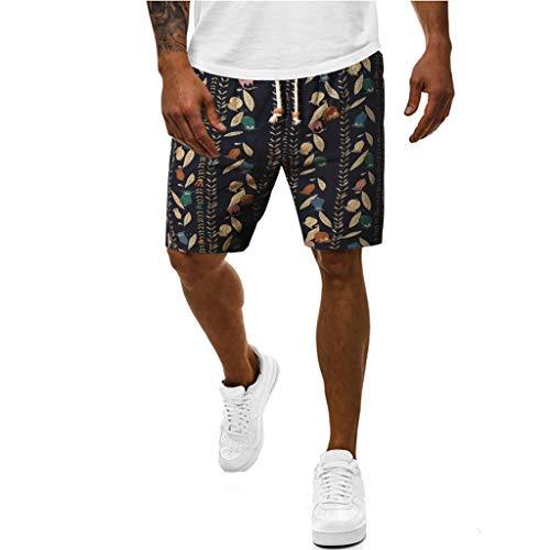 Xniral Herren Badeshorts Bedruckte Kordelzug Strandshorts aus Leinen mit Ethnischem Stil Multi-Pocket Overalls Shorts Modehose(b Schwarz,M)