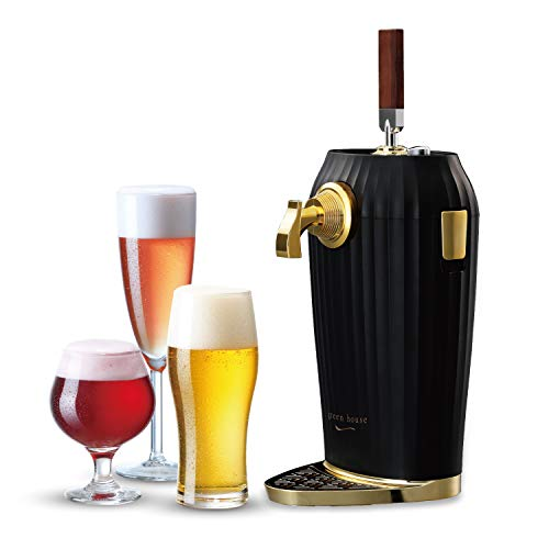 GREEN HOUSE Black Lustered cocktail Beer dispenser, mini kegerator for home and parties. Enjoy all kinds of beer cocktail with ultra fine foam. A perfect gift for beer lovers.