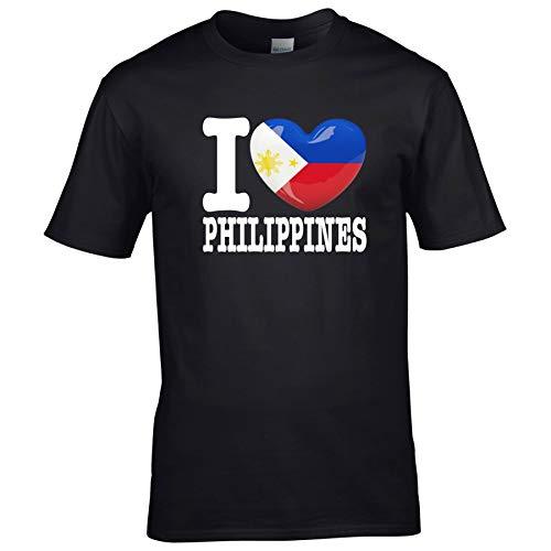 FanShirts4u Kinder T-Shirt - I Love Philippinen/Philippines - WM Trikot Liebe Herz Heart (3/4 Jahre 98-104 cm, I Love Philippines - Schwarz)