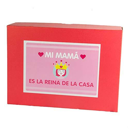 Regalo Personalizable para Madres: Kit 'mamá Reina de la casa' con Taza Personalizada, el Libro 'Mamá, cuéntame…', un Divertido talonario con cheques y Tarjeta Personalizada