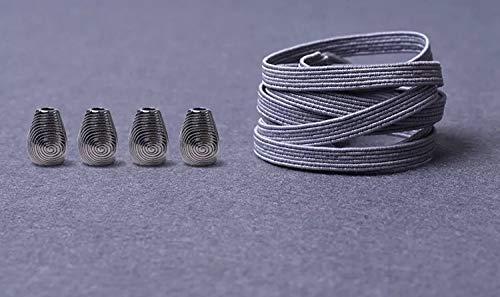RSS schoenveters 1 paar metalen kop platte veters geen stropdas veters kinderen volwassenen snel veters elastisch turnschoenen kant 21 kleuren lakken baskets (kleur: grijs)