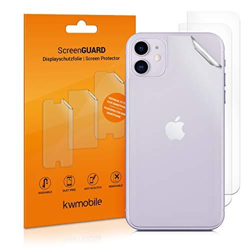 kwmobile 3X Schutzfolie Rückseite kompatibel mit Apple iPhone 11 - Backcover Smartphone Folie - Handyfolie transparent