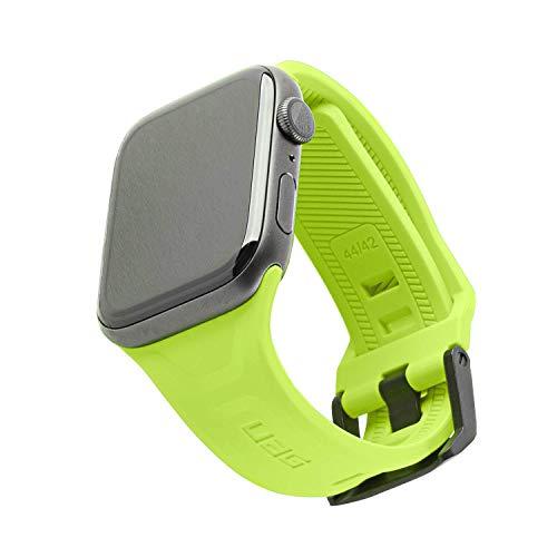 Urban Armor Gear Scout Armband für Apple Watch 42mm / 44mm [Series 5 / Series 4 / Series 3 / Series 2 / Series 1, Weiches Silikon Ersatzband, Verschluss aus Edelstahl] - neon grün (Billie)