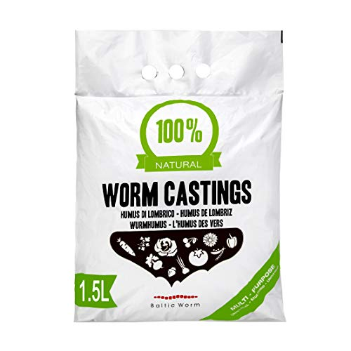 Baltc Worm Humus di Lombrico 1,5 litros - Orgánico Natural Fertilizante Multipropósitor Lombricomposta de Lombriz - fortalecedor de Suelos, lombrihumus de Lombriz Roja Californiana