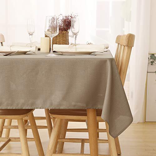 Deconovo Tischdecke Wasserabweisend Tischdecke Lotuseffekt Tischtuch Leinenoptik 140x200 cm Taupe