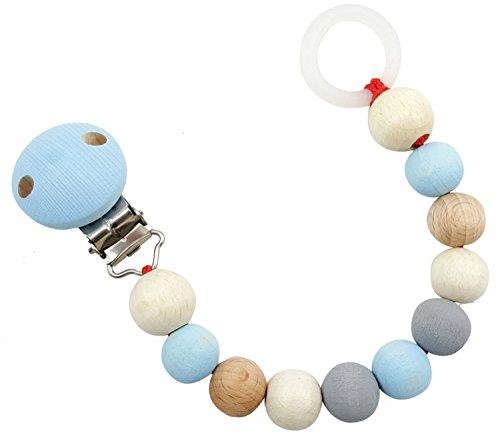 Hess 13717 - Holzspielzeug, Schnullerkette aus Holz, nature blau