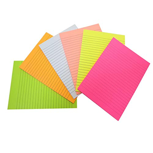 Creatiburg Big Sticky Notes Lined 6x8 inches 50 Sheets/Pad 6 Pads/Pack Large Self-Stick Note Pads with Lines, 6 Bright Colors Easy Post Individually Wrapped, Office Supplies School Gift Set