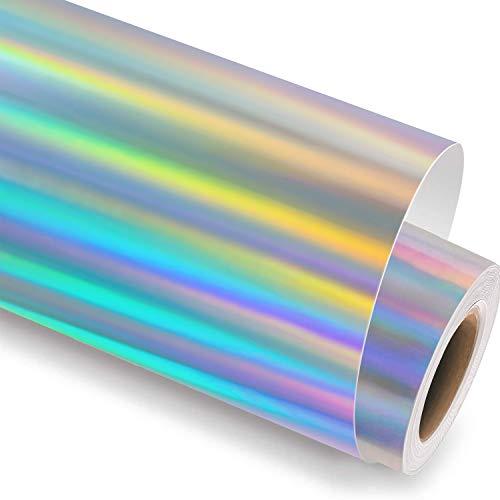 HTVRONT Holografiche Vinylfolie Plotter,30 ×183cm Holographic Plotterfolie Selbstklebend für Dekorationen(Spektrales Silber)