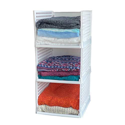 Uncluttered Designs Stacking Basket Bins for Kitchen Cabinet, Pantry, Closet, Bedroom, Bathroom Organization & Storage (White, Foldable Shelves, Tall (3 Set))
