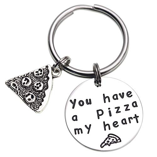 You Have a Pizza My Heart Anniversary Keychain Pizza Keychain Boyfriend Husband Gift Groom Gift Anniversary Gift Gifts for Him Pizza Lover (Keychain)