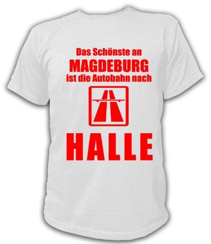 Artdiktat T-Shirt Anti Magdeburg Pro Halle Unisex, Größe XL, weiß