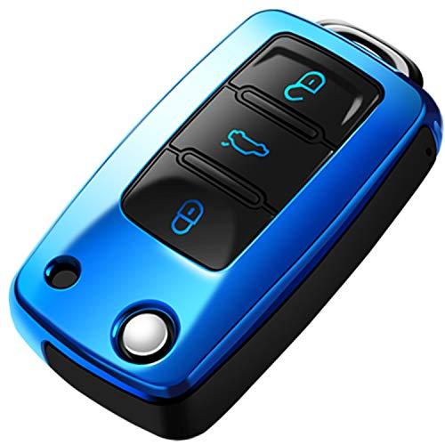 COVELL für VW Autoschlüssel Hülle, Prämie Weiches TPU Schutzhülle Schlüsselhülle für VW Volkswagen Jetta Passat Golf Tiguan Beetle Rabbit GTI CC EOS Flip Autoschlüssel, Blau